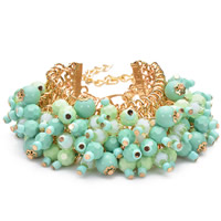 Zinc Alloy Resin Bracelets, with Nylon Cord & Japanese Glass Seed Bead & Resin, with 3lnch extender chain, gold color plated, faceted, 40mm, Length:Approx 7 Inch, Sold By Strand