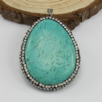 Turquoise Brass Pendants, Synthetic Turquoise, with Rhinestone Clay Pave & Brass, Teardrop, platinum color plated, 34x46x11mm, Hole:Approx 4x4mm, Sold By PC