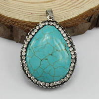 Turquoise Brass Pendants, Synthetic Turquoise, with Rhinestone Clay Pave & Brass, Teardrop, platinum color plated, 23.5x31x9.5mm, Hole:Approx 3.5x3.5mm, Sold By PC