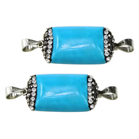 Turquoise Connector, Synthetic Turquoise, with Rhinestone Clay Pave & Brass, Rectangle, platinum color plated, 1/1 loop, 25x12.5x5.5mm, Hole:Approx 4x4mm, Sold By PC