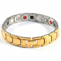 Stainless Steel Health Bracelets, with Magnetic Hematite, plated, hygienical & enamel & two tone, 75x75mm, Length:Approx 8.5 Inch, Sold By Strand