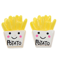 Food Resin Cabochon, French Fries, with letter pattern & flat back, yellow, 16x22x4mm, Sold By PC