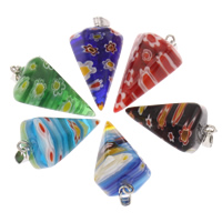 Millefiori Glass Pendants, with iron bail, pendulum, platinum color plated, more colors for choice, 16x27mm, Hole:Approx 3x6mm, Sold By PC