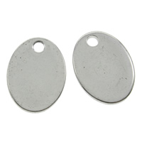 Stainless Steel Pendants, Flat Oval, original color, 11x15x1mm, Hole:Approx 1mm, Sold By PC