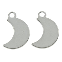 Stainless Steel Pendants, Moon, original color, 9x15x1mm, Hole:Approx 1mm, Sold By PC