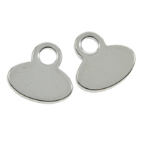 Stainless Steel Pendants, Flat Oval, original color, 11x11x1mm, Hole:Approx 1.5mm, Sold By PC