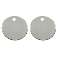 Stainless Steel Pendants, Flat Round, original color, 12x1mm, Hole:Approx 1mm, Sold By PC