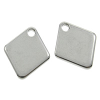 Stainless Steel Pendants, Rhombus, original color, 12x15x1mm, Hole:Approx 1mm, Sold By PC
