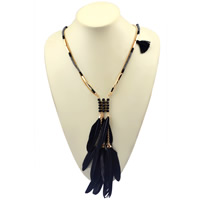 Zinc Alloy Sweater Chain Necklace, with Feather & Nylon Cord & Crystal, with 2lnch extender chain, gold color plated, twist oval chain & faceted & 2-strand, Length:Approx 23.6 Inch, Sold By Strand