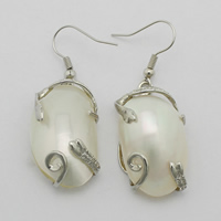 White Shell Earrings, Brass, with White Shell, Flat Oval, platinum color plated, natural, 49mm, 17.5x32x10mm, Sold By Pair