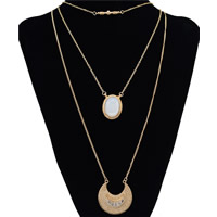 Fashion Multi Layer Necklace, Zinc Alloy, with Resin, with 2lnch extender chain, gold color plated, twist oval chain & 3-strand, 40x40mm, Length:Approx 48 Inch, Sold By Strand