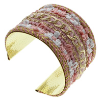Iron Friendship Cuff  Bangle, with Nylon & Wool, gold color plated, with rhinestone, lead & cadmium free, 70x50x53mm, Inner Diameter:Approx 64x51mm, Length:Approx 7.5 Inch, Sold By PC