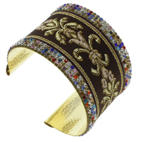 Iron Friendship Cuff  Bangle, with Nylon, gold color plated, with rhinestone, lead & cadmium free, 69x50x52mm, Inner Diameter:Approx 65x49mm, Length:Approx 8 Inch, Sold By PC