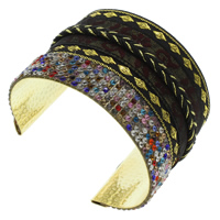 Iron Friendship Cuff  Bangle, with Nylon, gold color plated, with rhinestone, lead & cadmium free, 70x50x53mm, Inner Diameter:Approx 68x50mm, Length:Approx 8 Inch, Sold By PC