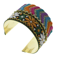 Iron Friendship Cuff  Bangle, with Wool, gold color plated, with rhinestone, lead & cadmium free, 72x50x58mm, Inner Diameter:Approx 65x54mm, Length:Approx 8 Inch, Sold By PC