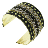 Iron Friendship Cuff  Bangle, with brass claw chain & Nylon, gold color plated, lead & cadmium free, 71x50x53mm, Inner Diameter:Approx 65x50mm, Length:Approx 8 Inch, Sold By PC