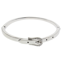 Rhinestone Zinc Alloy Bangle, platinum color plated, with rhinestone, lead & cadmium free, 66x11x53mm, Inner Diameter:Approx 64x51mm, Length:Approx 8 Inch, Sold By PC