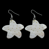 White Shell Earrings, iron earring hook, Starfish, natural, 35x55x3mm, Sold By Pair