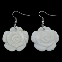 White Shell Earrings, iron earring hook, Flower, natural, 27x28x3mm, Sold By Pair
