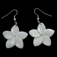 White Shell Earrings, iron earring hook, Flower, natural, with rhinestone, 26x27x3mm, Sold By Pair