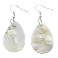 White Shell Earrings, iron earring hook, Teardrop, natural, 20x30x9mm, Sold By Pair