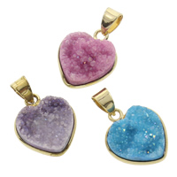 Natural Agate Druzy Pendant, Ice Quartz Agate, with Brass, Heart, gold color plated, druzy style, more colors for choice, 15x18x7mm, Hole:Approx 4x5mm, Sold By PC