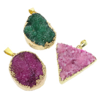 Natural Agate Druzy Pendant, Ice Quartz Agate, with Brass, gold color plated, druzy style & mixed, 25x33x15mm-35x37x15mm, Hole:Approx 4x8mm, Sold By PC