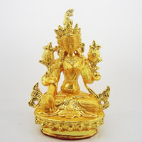 Buddhist Gift Decoration, Brass, Guanyin, gold color plated, Buddhist jewelry & matte, 85mm, Sold By PC