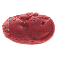Synthetic Coral Beads, Mandarin Duck, red, 39x27x11mm, Hole:Approx 1mm, Sold By PC
