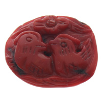 Synthetic Coral Beads, Mandarin Duck, red, 36x31x9mm, Hole:Approx 1mm, Sold By PC