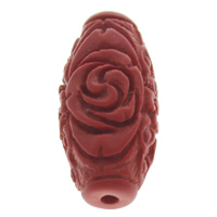Synthetic Coral Beads, Oval, red, 14x29mm, Hole:Approx 1.5mm, Sold By PC