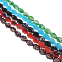 Millefiori Glass Beads, Flat Oval, faceted, more colors for choice, 13x18x8mm, Hole:Approx 1mm, Length:Approx 15.5 Inch, Approx 20PCs/Strand, Sold By Strand