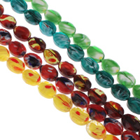 Millefiori Glass Beads, Flat Oval, faceted, more colors for choice, 12x16x7mm, Hole:Approx 1mm, Length:Approx 15.5 Inch, Approx 25PCs/Strand, Sold By Strand
