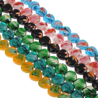 Millefiori Glass Beads, Heart, faceted, more colors for choice, 16x16x8mm, Hole:Approx 1mm, Length:Approx 10.5 Inch, Approx 18PCs/Strand, Sold By Strand