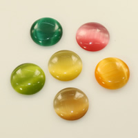 Cats Eye Cabochons, Dome, flat back, more colors for choice, 8mm, Sold By PC