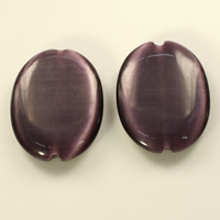 Cats Eye Beads, Flat Oval, dark purple, 32x25x6mm, Hole:Approx 2mm, Sold By PC