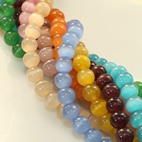 Cats Eye Beads, Round, more colors for choice, 8mm, Hole:Approx 1mm, Length:Approx 14 Inch, Approx 48PCs/Strand, Sold By Strand