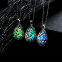 comeon® Jewelry Necklace, Zinc Alloy, with Fluorescent Powder Stone, Teardrop, real silver plated, oval chain & luminated & hollow, more colors for choice, 19x29mm, Length:Approx 19.6 Inch, Sold By Strand