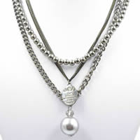 Fashion Multi Layer Necklace, Zinc Alloy, with ABS Plastic Pearl & iron chain, with 5cm extender chain, Round, platinum color plated, with painted & twist oval chain & with letter pattern & 3-strand, lead & cadmium free, 450mm, Length:Approx 17.5 Inch, Sold By Strand