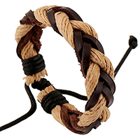 Unisex Bracelet, Cowhide, with Linen, braided bracelet & adjustable, 6mm, Length:Approx 5.1 Inch, Sold By Strand