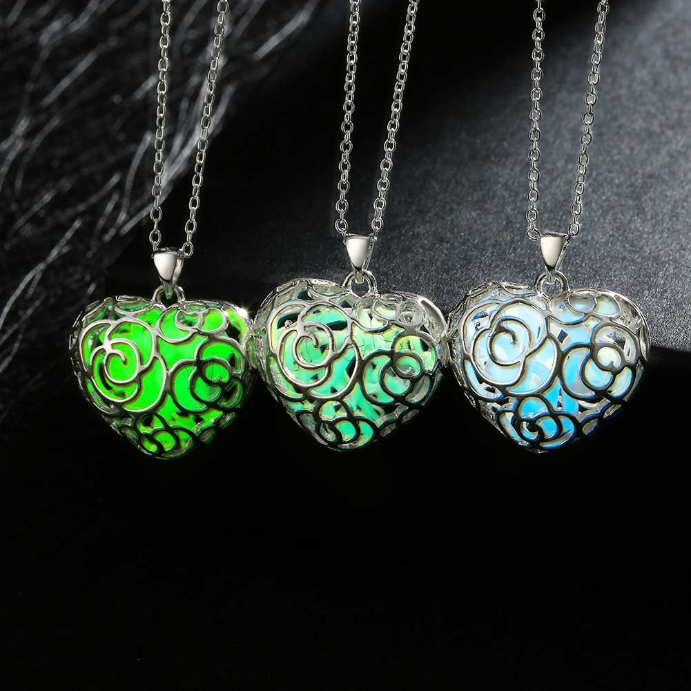 comeon® Jewelry Necklace, Zinc Alloy, with Fluorescent Powder Stone, Heart, real silver plated, oval chain & luminated & hollow, more colors for choice, 26x31mm, Length:Approx 19.6 Inch, Sold By Strand