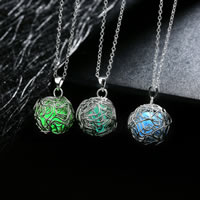 comeon® Jewelry Necklace, Zinc Alloy, with Fluorescent Powder Stone, Round, real silver plated, oval chain & luminated, more colors for choice, 18x29mm, Length:Approx 19.6 Inch, Sold By Strand