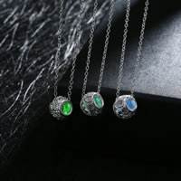 comeon® Jewelry Necklace, Zinc Alloy, with Fluorescent Powder Stone, Drum, real silver plated, oval chain & luminated & with rhinestone, more colors for choice, 9x12mm, Length:Approx 19.6 Inch, Sold By Strand