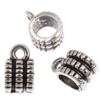 Zinc Alloy Bail Beads, Column, antique silver color plated, lead & cadmium free, 6x10mm, Hole:Approx 2mm, 4mm, Approx 125PCs/Bag, Sold By Bag