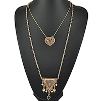 Fashion Multi Layer Necklace, Zinc Alloy, with Resin, with 1.96inch extender chain, antique gold color plated, twist oval chain & oval chain & with rhinestone & 2-strand, nickel, lead & cadmium free, 29x27mm, 51x66mm, Length:Approx 28 Inch, Sold By Strand