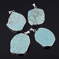Synthetic Turquoise Pendants, with Brass, silver color plated, 33x46x6mm, Hole:Approx 3mm, Sold By PC