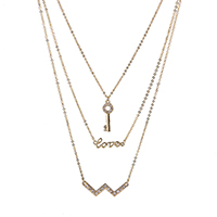 Fashion Multi Layer Necklace, Zinc Alloy, with 3inch extender chain, gold color plated, oval chain & 3-strand & with rhinestone, Length:Approx 17 Inch, Sold By Strand