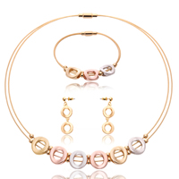 Fashion Zinc Alloy Jewelry Sets, bracelet & earring & necklace, with Tiger Tail Wire, stainless steel post pin, Donut, plated, lead & cadmium free, 15x45mm, 15x50mm, 15x95mm, Length:Approx 8 Inch, Approx  16.5 Inch, Sold By Set
