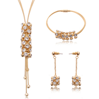 Rhinestone Zinc Alloy Jewelry Set, bracelet & earring & necklace, with Tiger Tail Wire, stainless steel post pin, gold color plated, with rhinestone, lead & cadmium free, 11x30mm, 11x50mm, 11x83mm, Length:Approx 8 Inch, Approx  16.5 Inch, Sold By Set