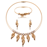 Rhinestone Zinc Alloy Jewelry Set, bracelet & earring & necklace, with Tiger Tail Wire, stainless steel post pin, Leaf, gold color plated, with rhinestone, lead & cadmium free, 12x35mm, 15x45mm, 45x90mm, Length:Approx 8 Inch, Approx  16.5 Inch, Sold By Set